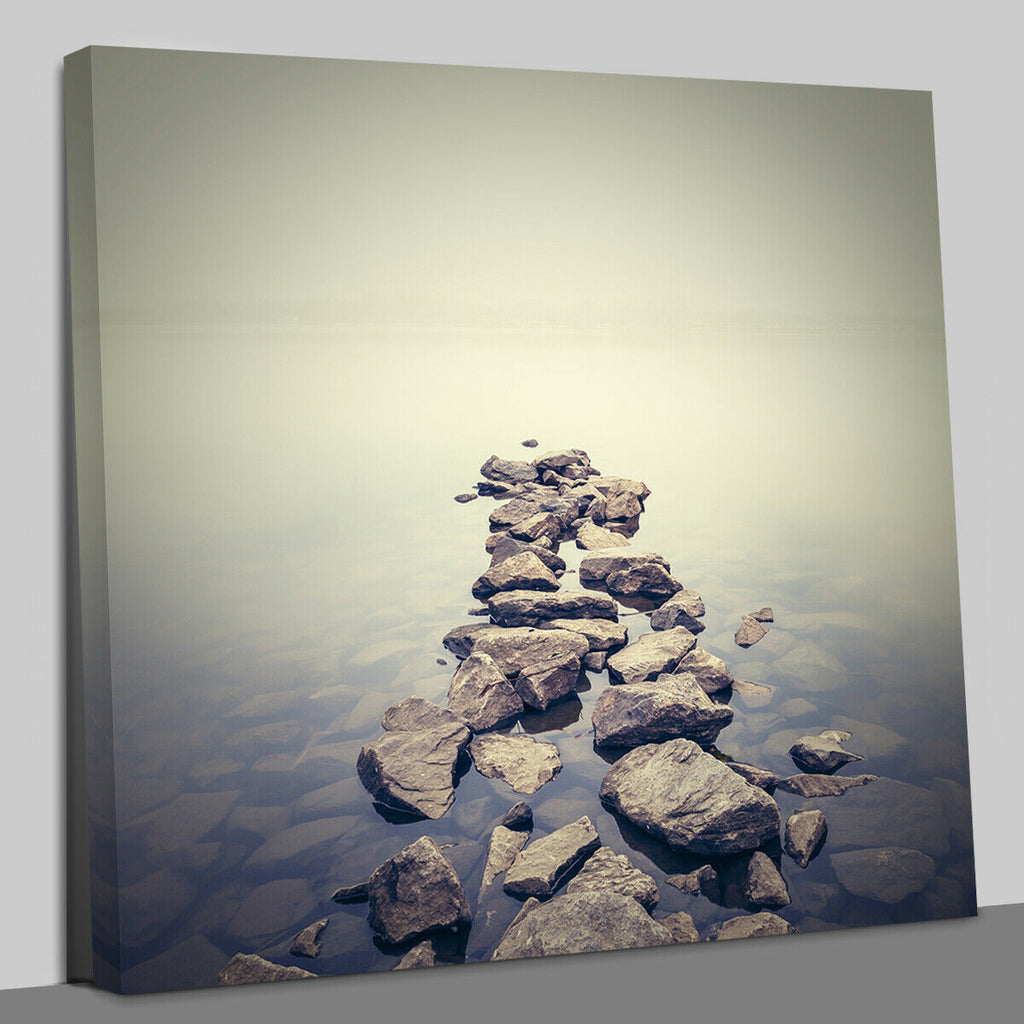 Minimalist misty landscape Canvas Wall Art Picture Print