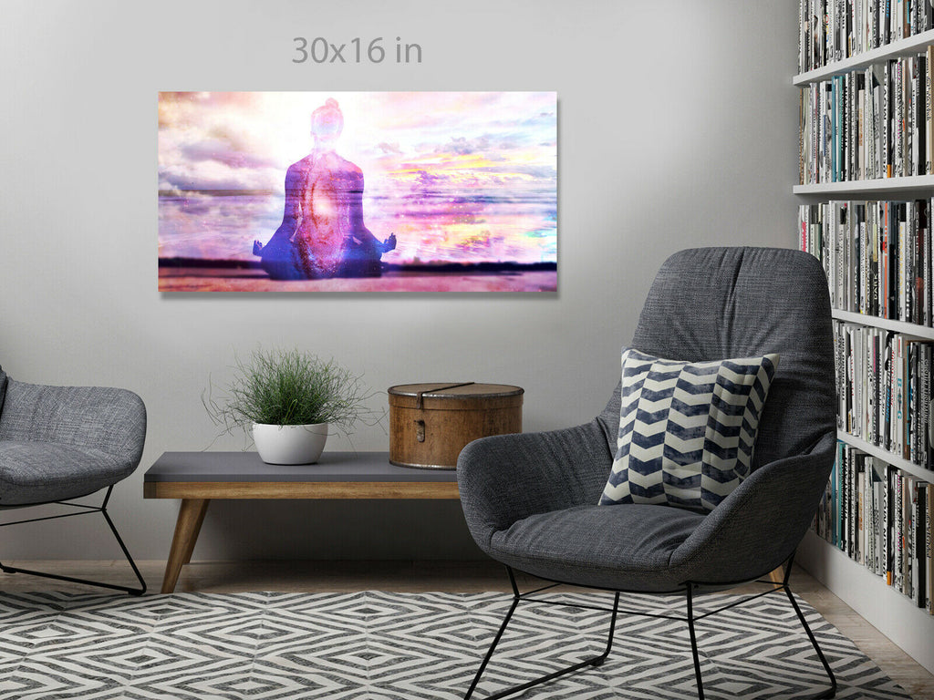 Yoga Meditation  Panoramic Canvas Wall Art Picture Print