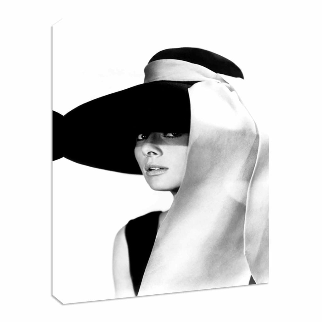 Audrey Hepburn beautiful hat Canvas Wall Art Picture Print