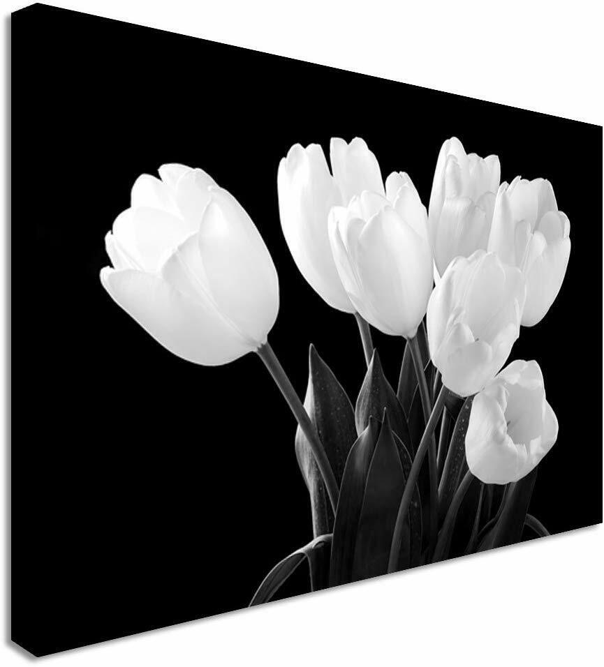 White Tulips Canvas Wall Art Picture Print