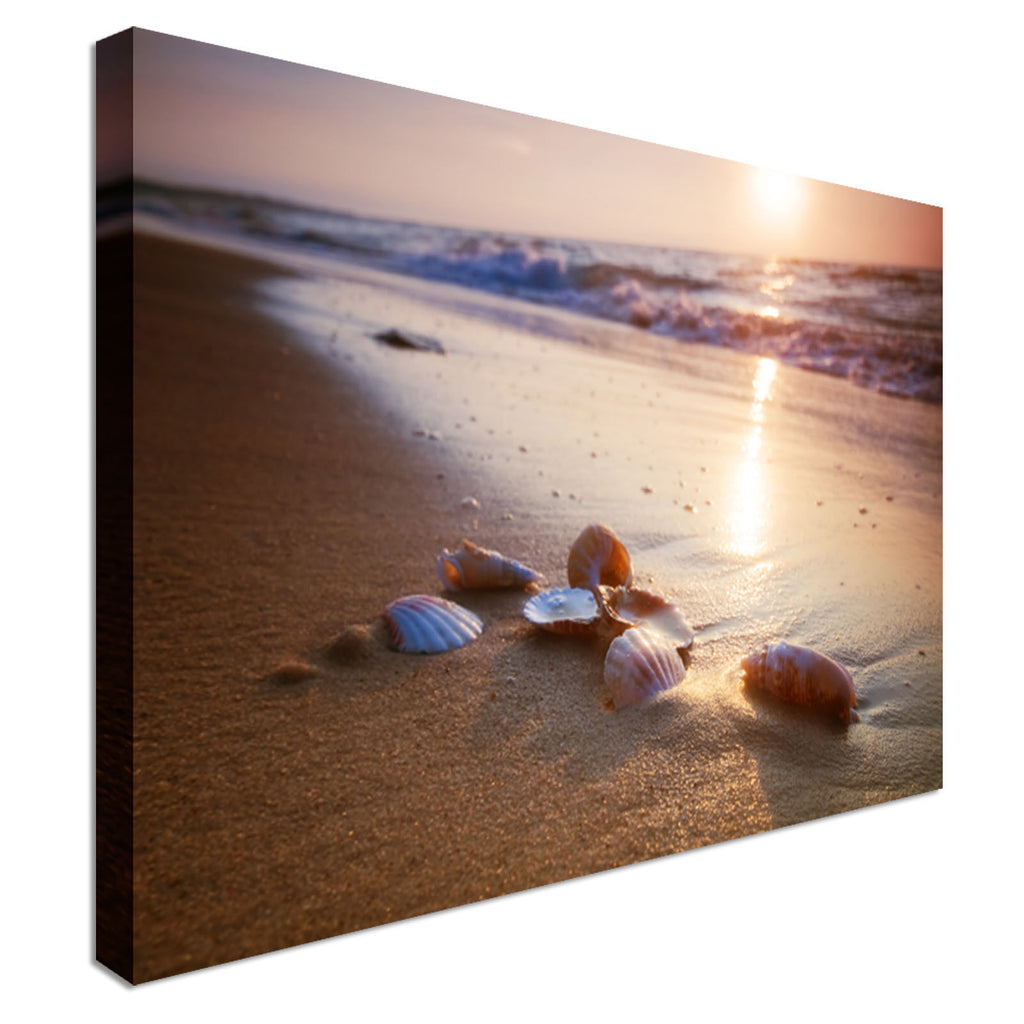 Waves approaching sea shells Canvas Wall Art Picture Print