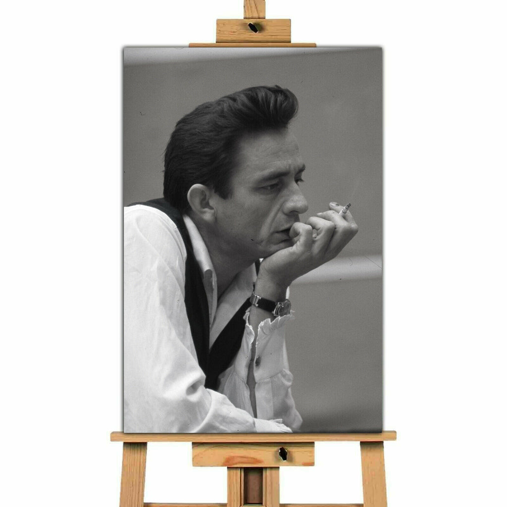 Johnny Cash Contemplating Canvas Print Wall Art