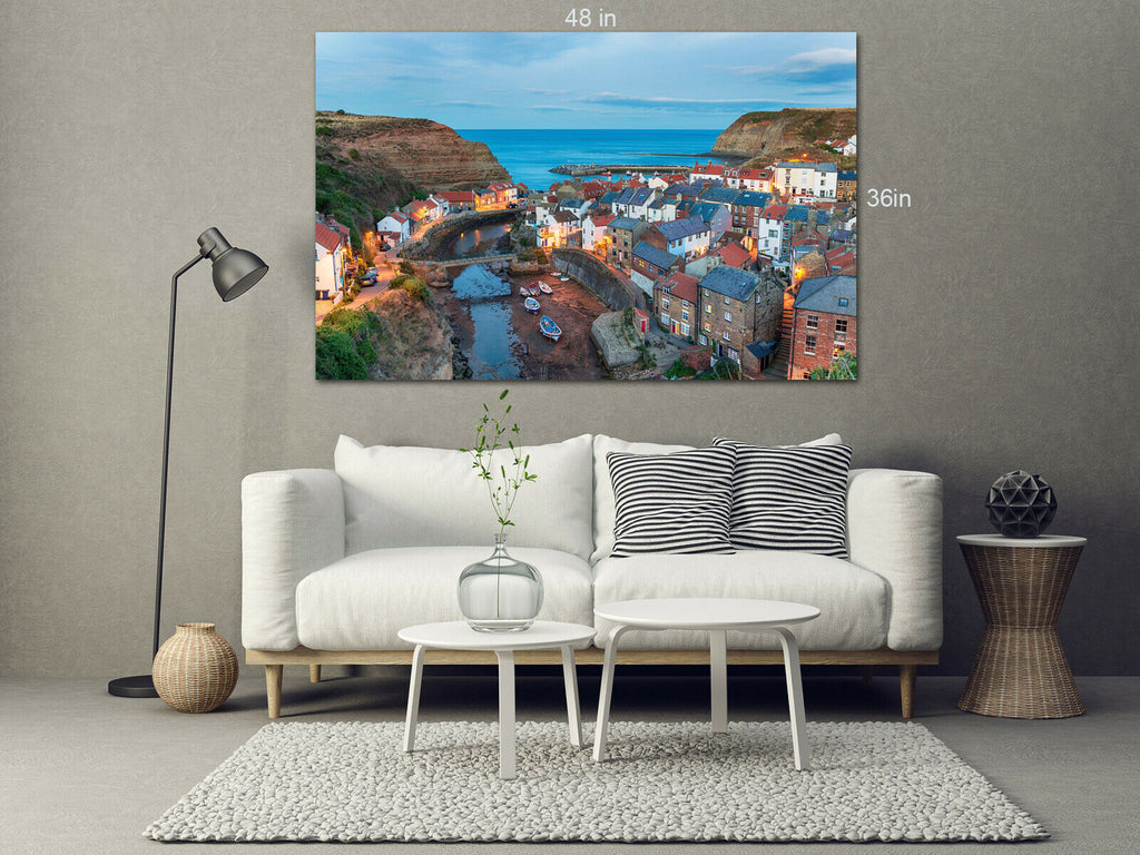 Staithes-Yorkshire-nightfall-village Canvas Wall Art Picture Print