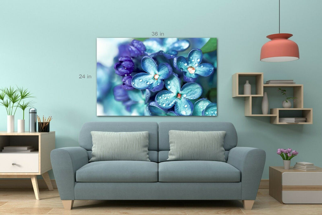 Blue lilac flowers close up Canvas Wall Art Picture Print