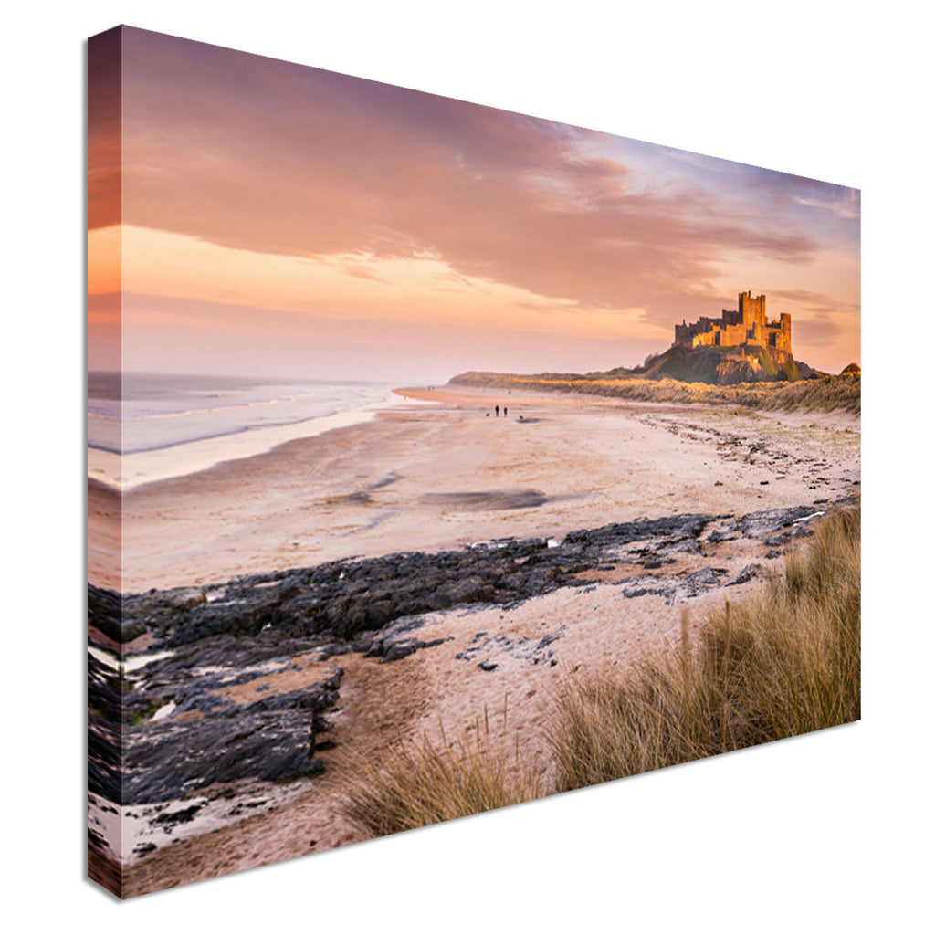 Golden Bamburgh Castle Canvas Wall Art Picture Print
