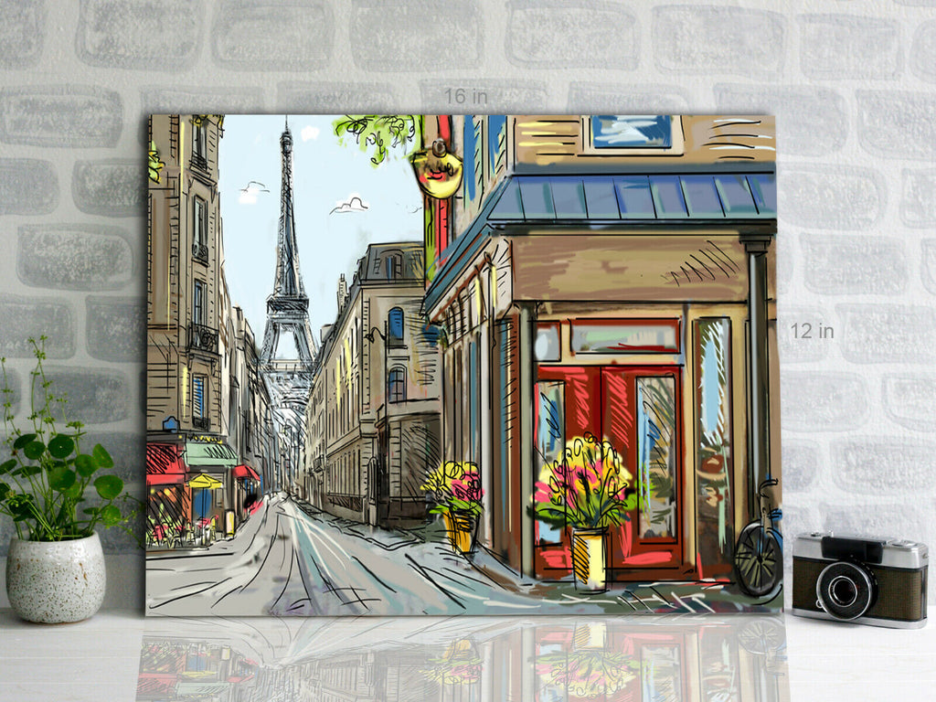 Street in Paris - illustration Canvas Wall Art Picture Print