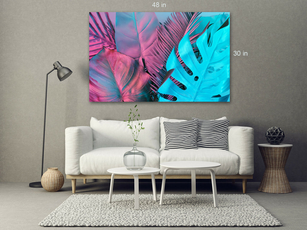 Blue Purple Tint Tropical Leaves Canvas Wall Art Picture Print