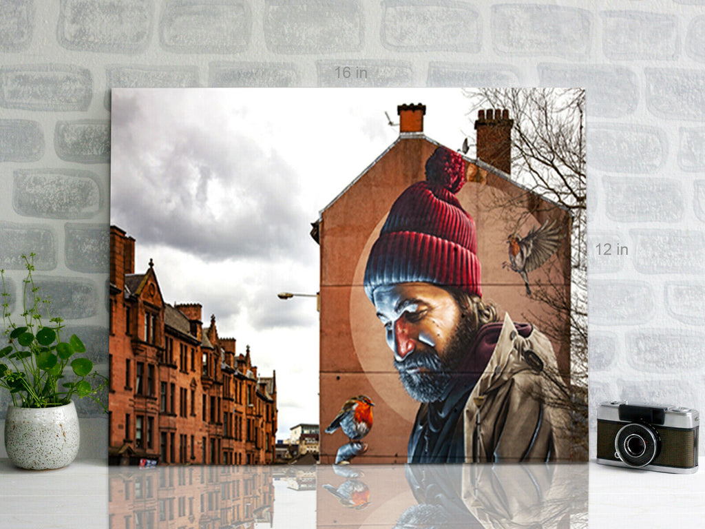 Street Art Man With Robin  Canvas Wall Art Picture Print