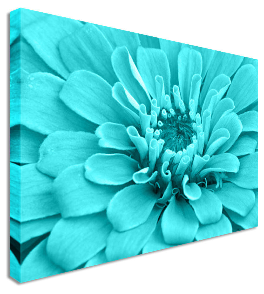 Blue Love Floral Flower Canvas Wall Art Picture Print