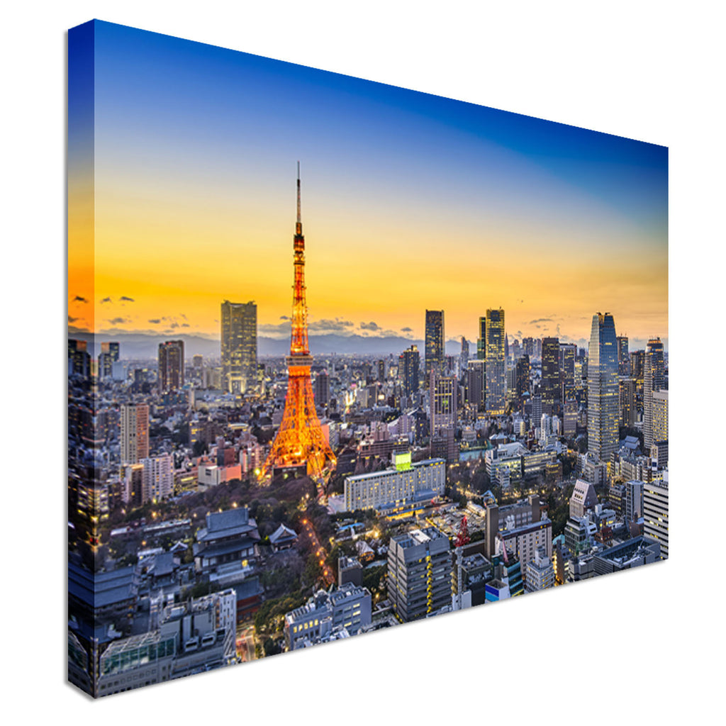 Tokyo, Japan city skyline at sunset Canvas Wall Art Picture Print