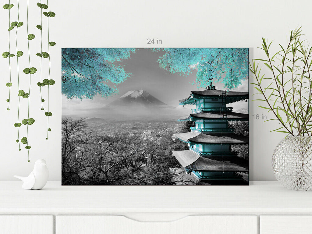 Japanese Temple Duck Egg Blue Canvas Wall Art Picture Print