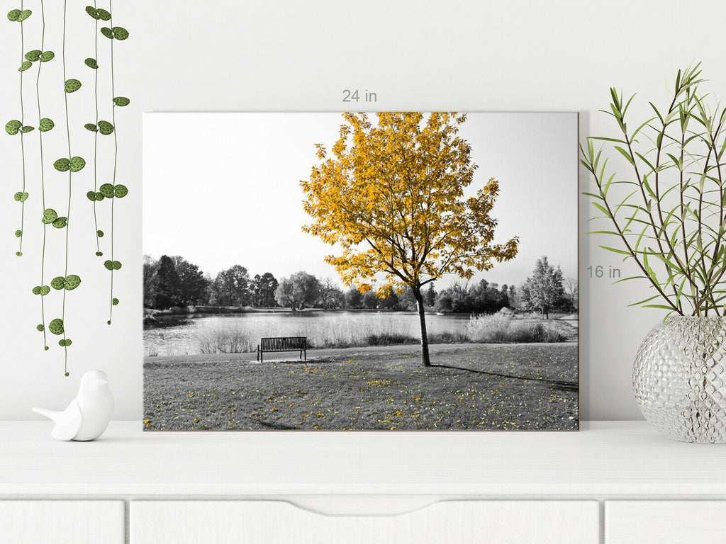 Single Tree Yellow Canvas Wall Art Picture Print