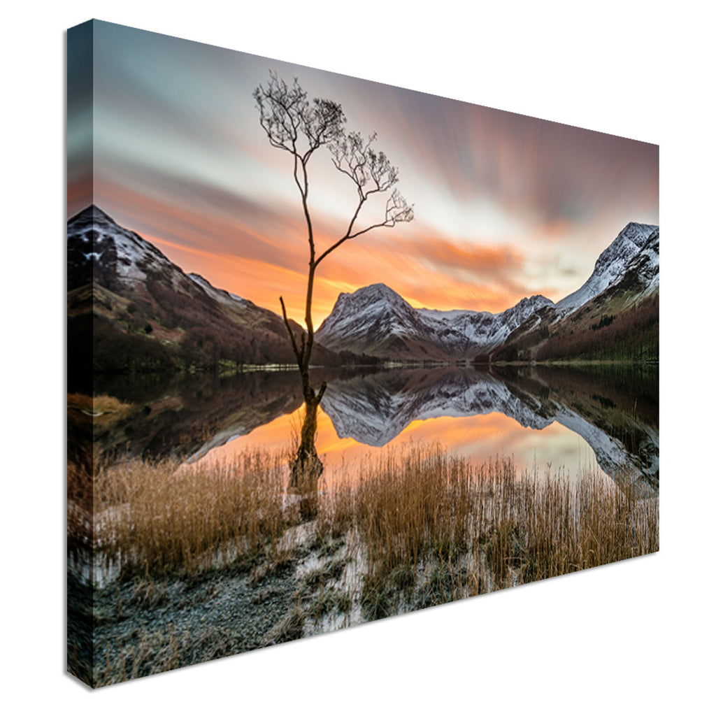 Orange Sunrise Mountains Lake District Canvas Wall Art Picture Print