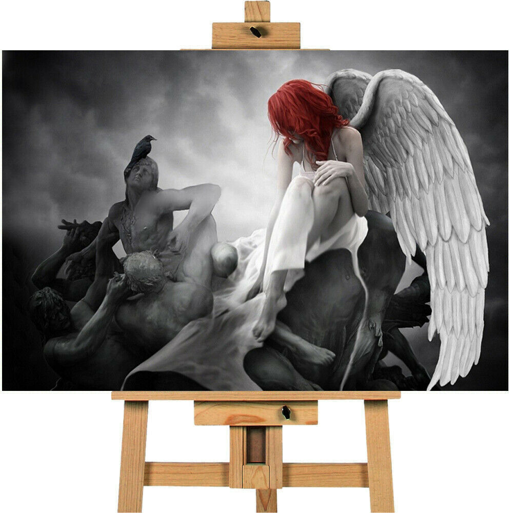 Sci Fantasy Art Red Head Angel Crow Print Wall Art