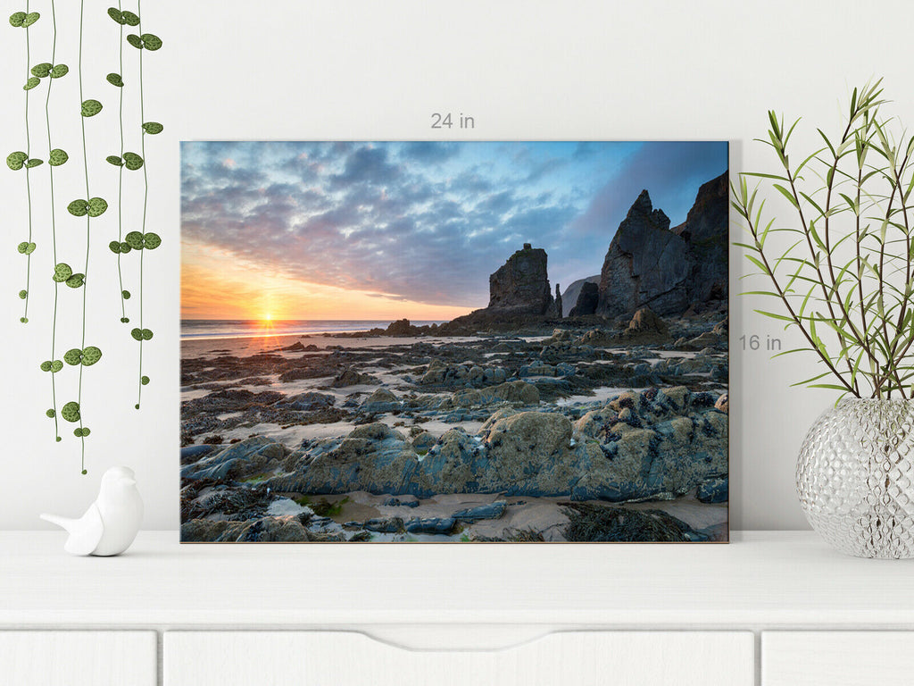 Sunset at Sandymouth Beach CORNWALL Canvas Wall Art Picture Print