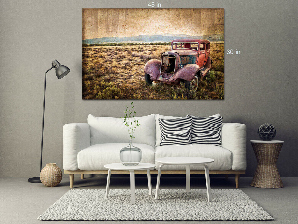 Old Vintage Car Field Canvas Wall Art Picture Print