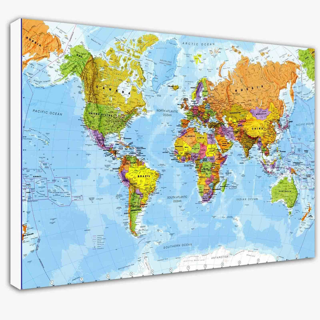 World Map Modern High Detail Canvas Wall Art Picture Print