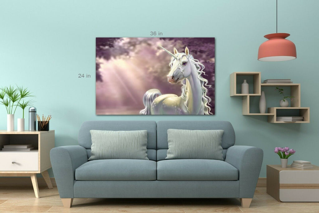 White Unicorn Sun rays Canvas Wall Art Picture Print