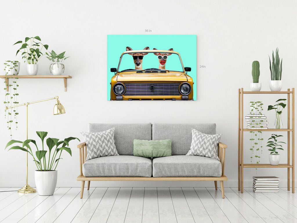 Giraffe Driving Car Canvas Wall Art Picture Print