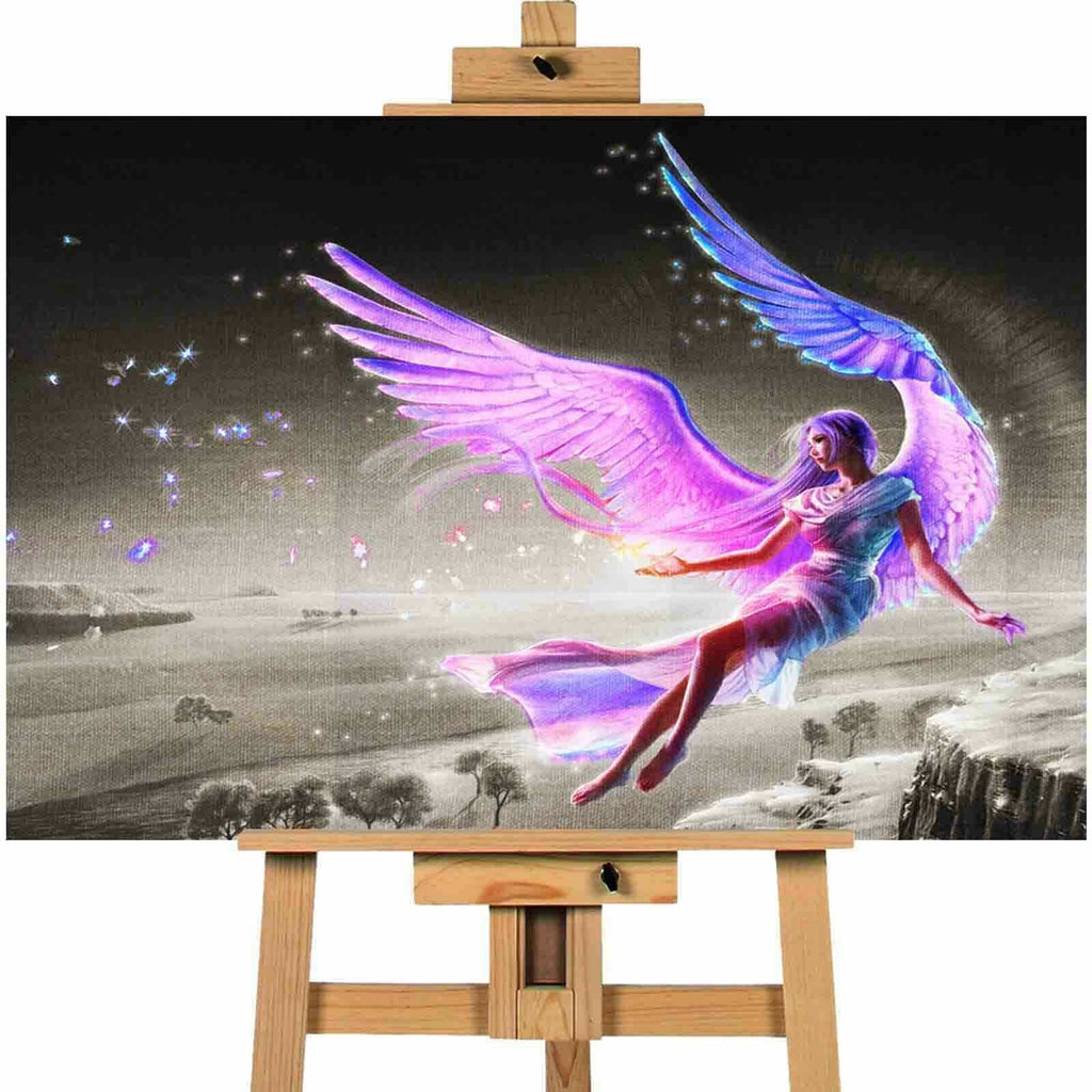 Fairy angel wings pink  canvas wall art print