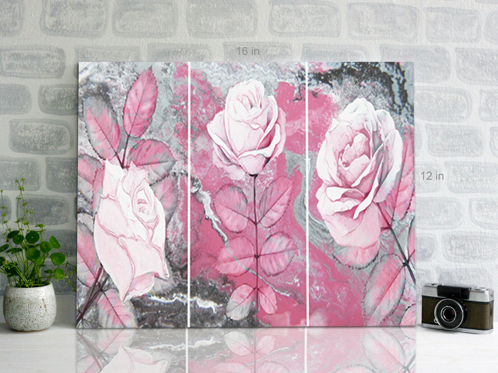 Three Flowers Pink  Canvas Wall Art Picture Print