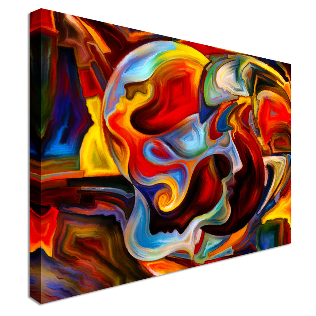 Modern Abstract Head Colourful Canvas Wall Art Picture Print