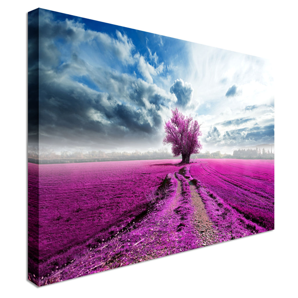 Tree purple Field  On The Road Canvas Wall Art prints high quality