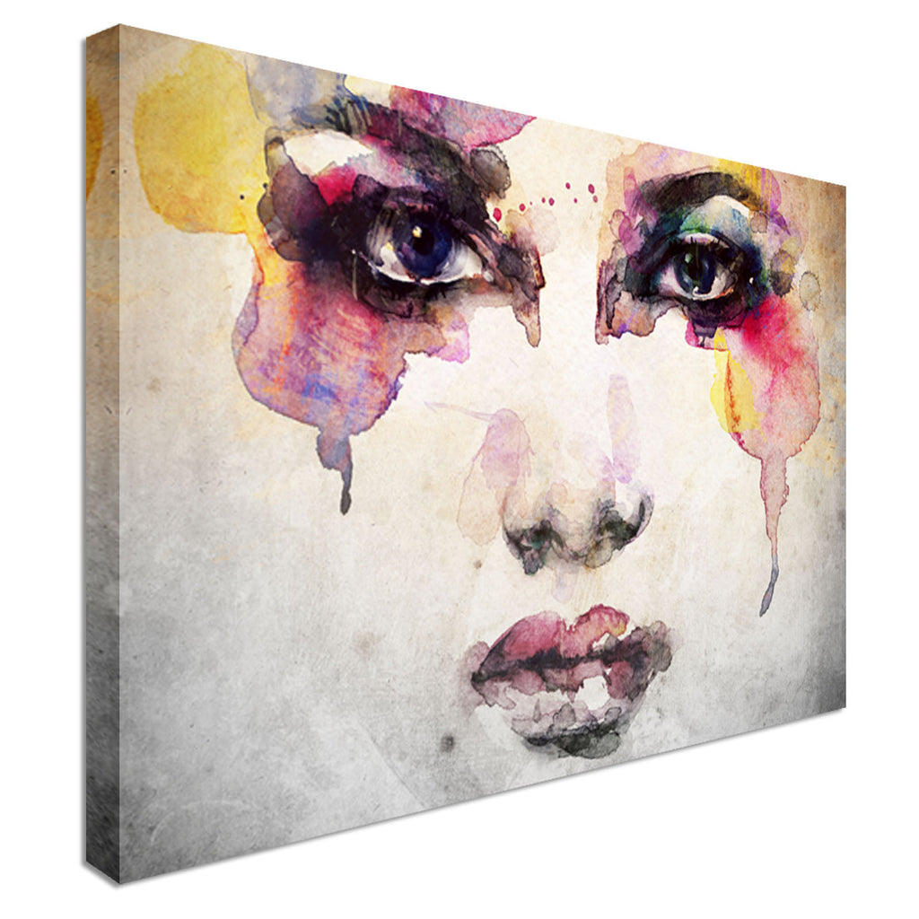 Woman Portrait abstract watercolor Canvas Wall Art Picture Print