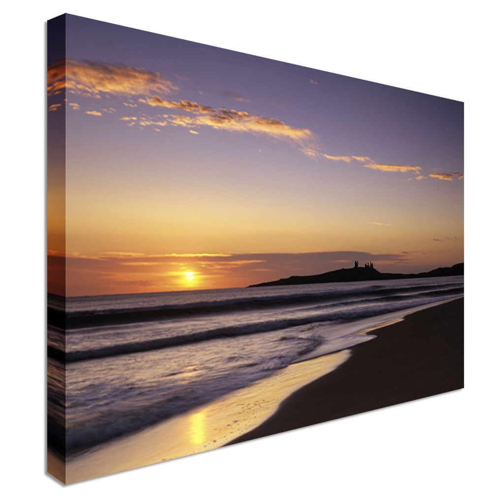 Dawn over Dunstanburgh Castle Canvas Art Cheap Wall Print Home Interior