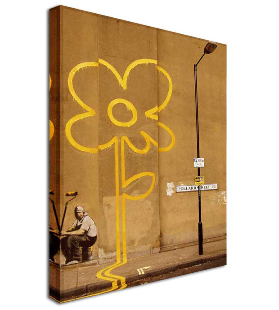 Mellow Yellow Sun Flower - BANKSY Canvas Wall Art Picture Print