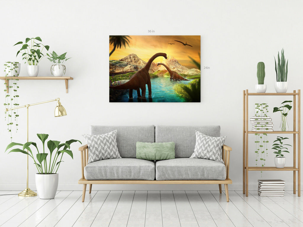 Kids Dinosaur Battle  Canvas Wall Art Picture Print