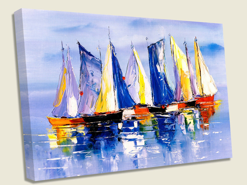 Yachts on Sea Oil Painting Canvas Wall Art Picture Print
