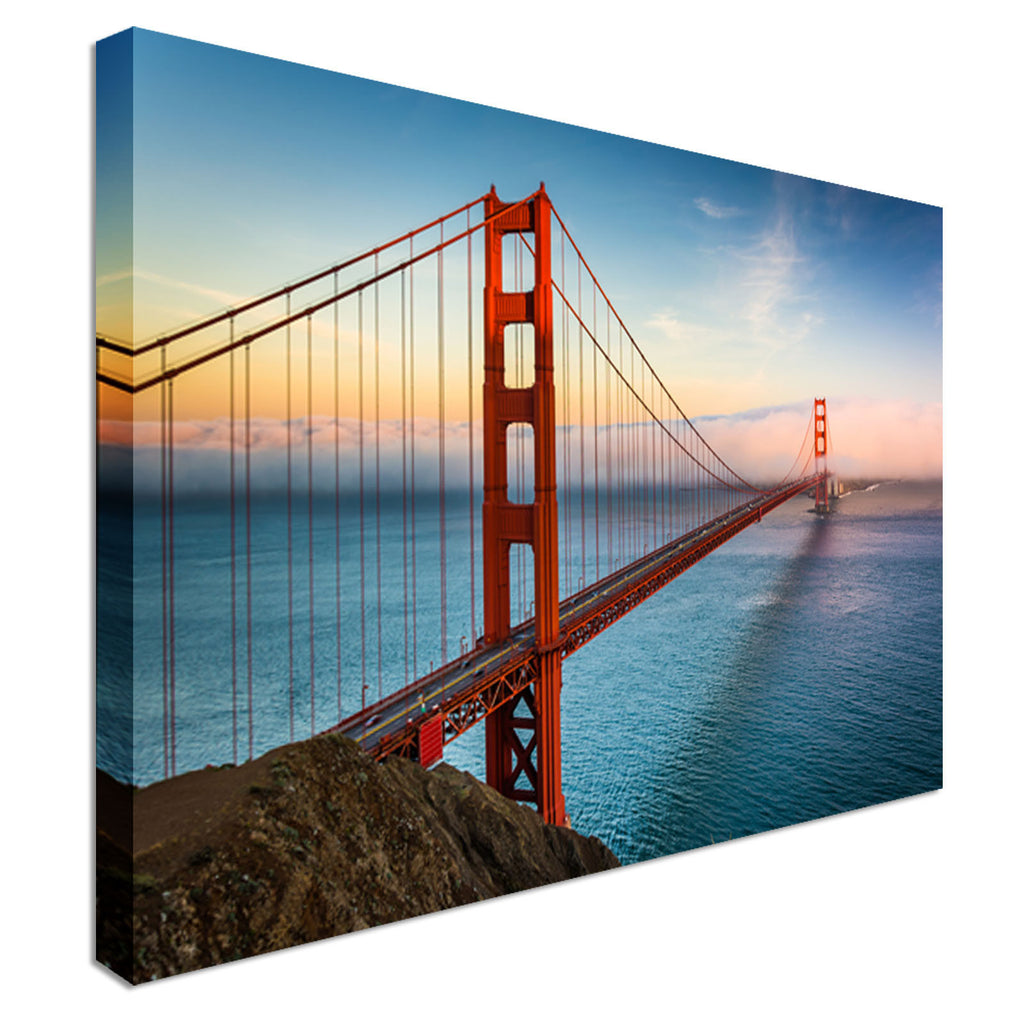Sunset Golden Gate Bridge Canvas Wall Art Picture Print