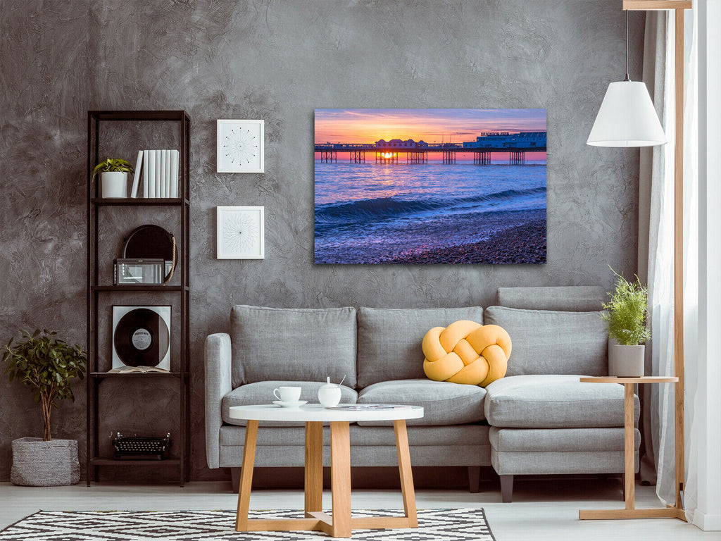 Brighton Beach at Sunset Canvas Wall Art Picture Print