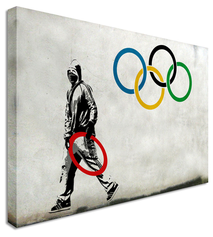 XL Anti Olympics Rare Banksy + London Riots  Canvas Wall Art Picture Print