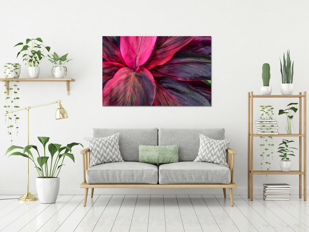 Tropical leaves rich colours Canvas Wall Art Picture Print