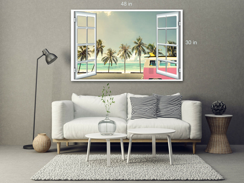 Volkswagen Palm Trees View  Yellow Canvas Wall Art Picture Print