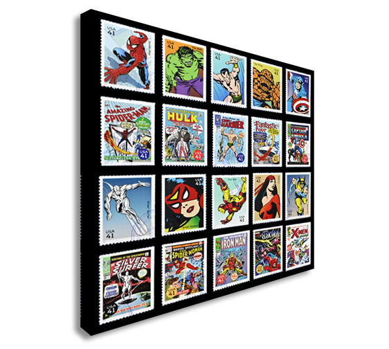 Marvel superhero USA Stamps  Canvas Wall Art Picture Print