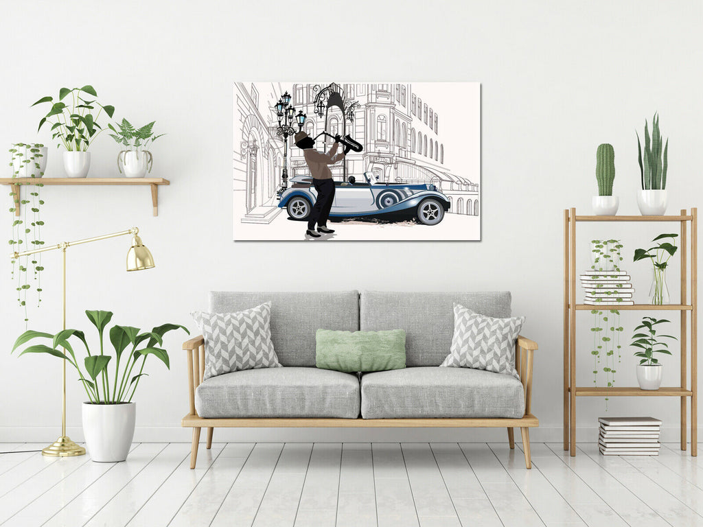 Jazz Saxaphone Player Canvas Wall Art Picture Print