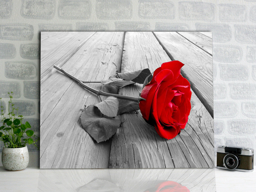 Rose On Wood Floor Canvas Wall Art Picture Print