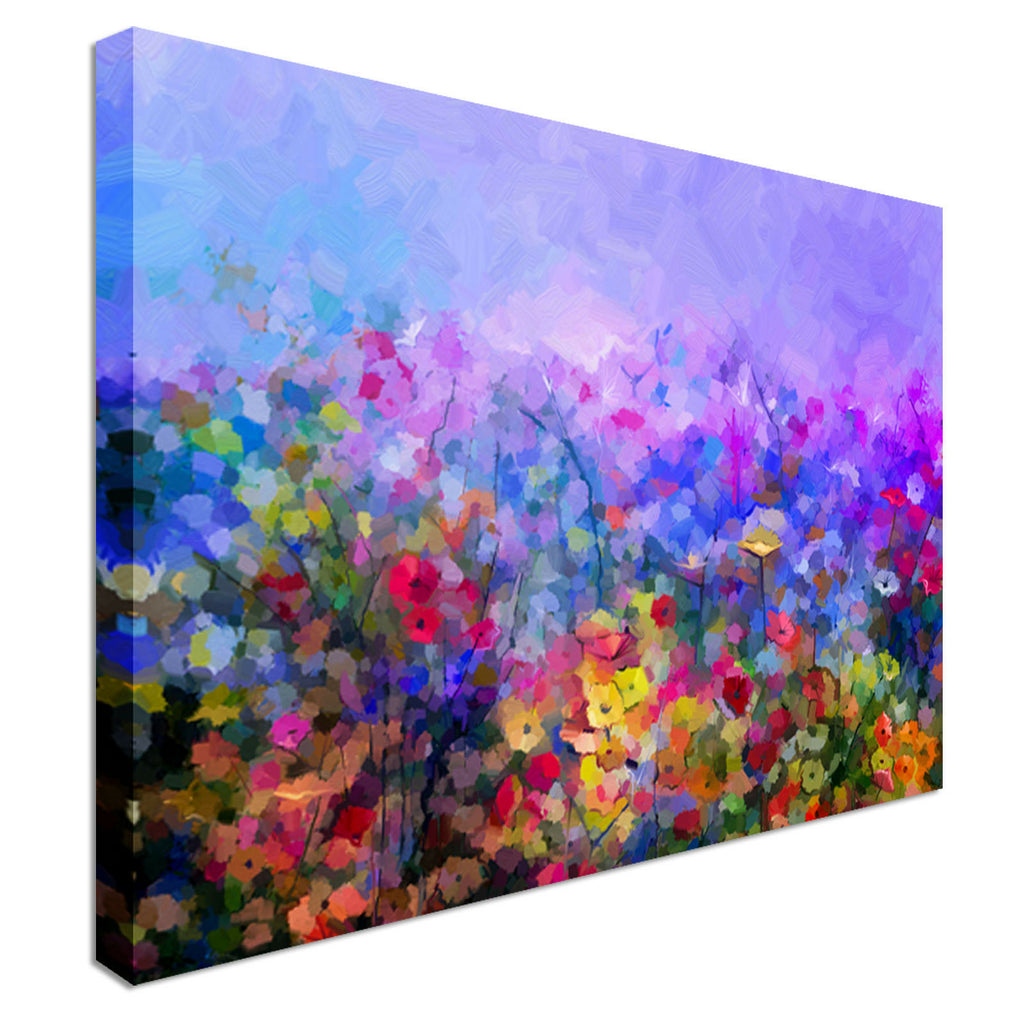Modern Abstract Spring Flowers Canvas Wall Art Picture Print
