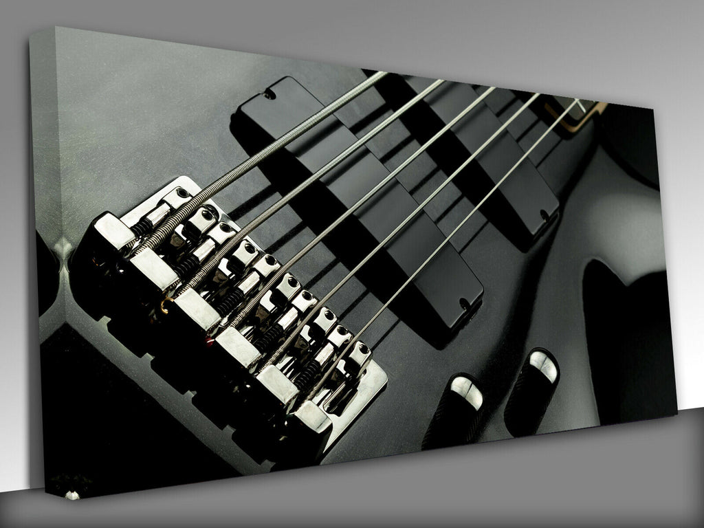 Electric five string bass guitar closeup Panoramic Canvas Wall Art Picture Print