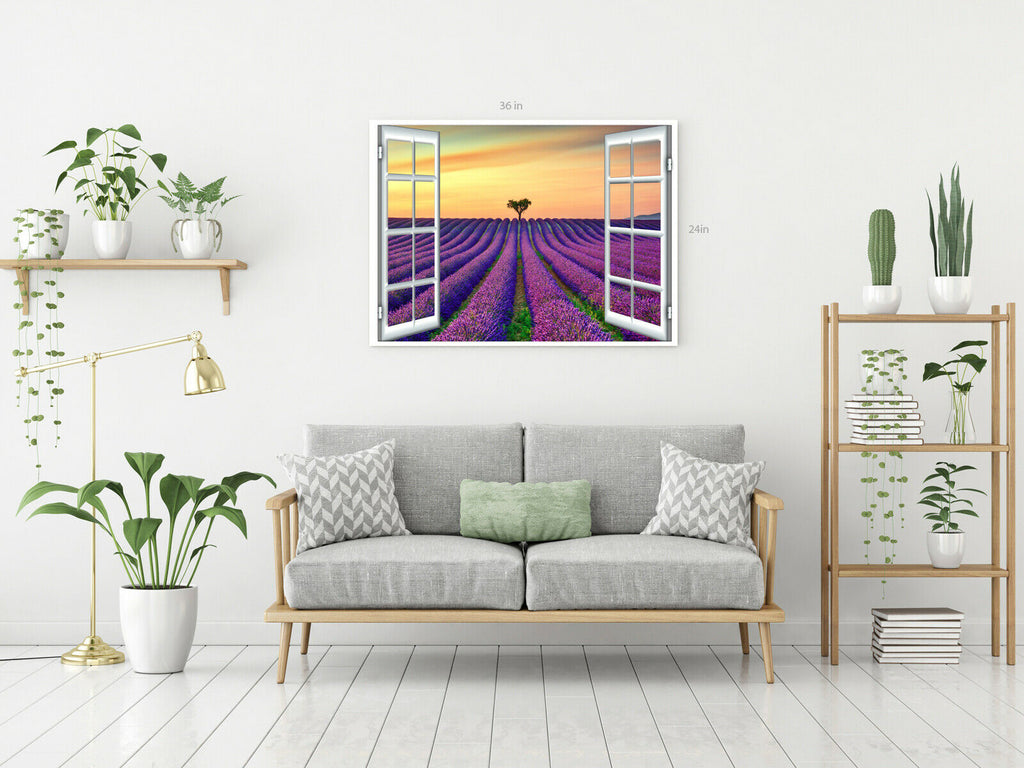 View From Window Lavender Field Canvas Wall Art Picture Print