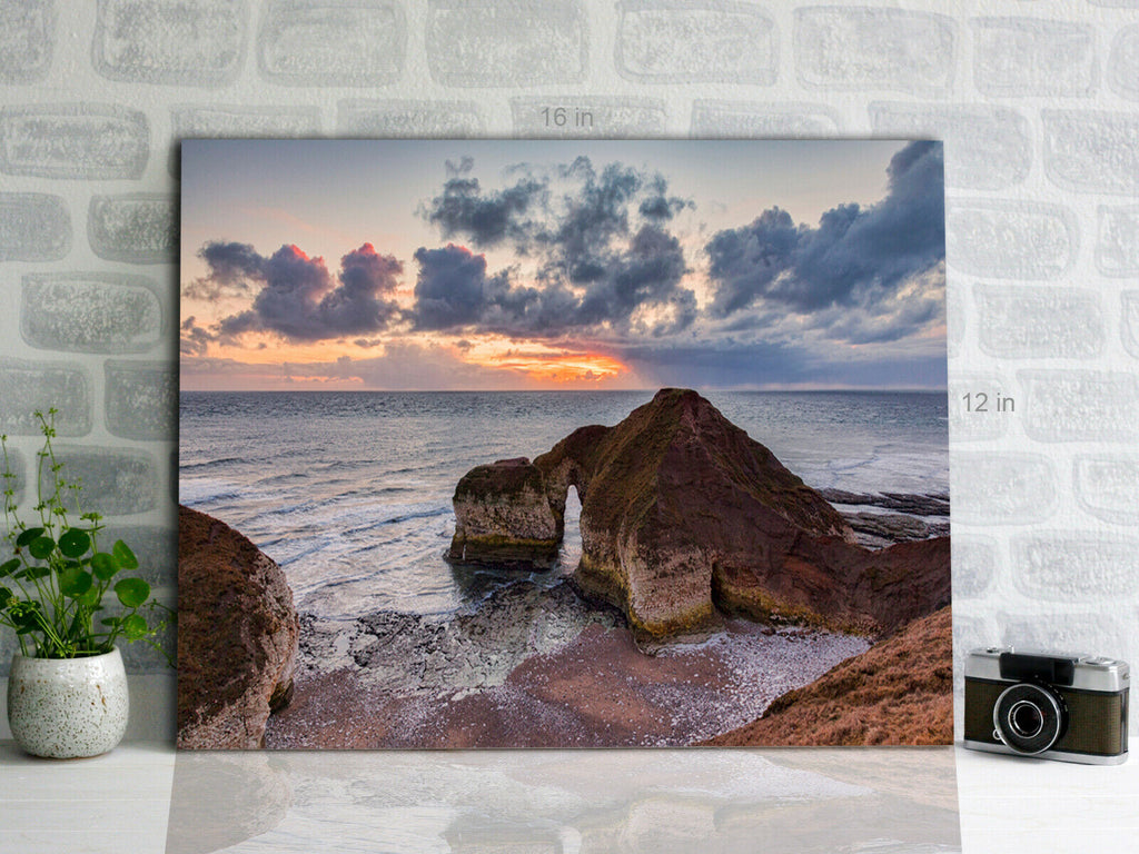 Rocks  known as the Dinosaur, Flamborough Canvas Wall Art Picture Print