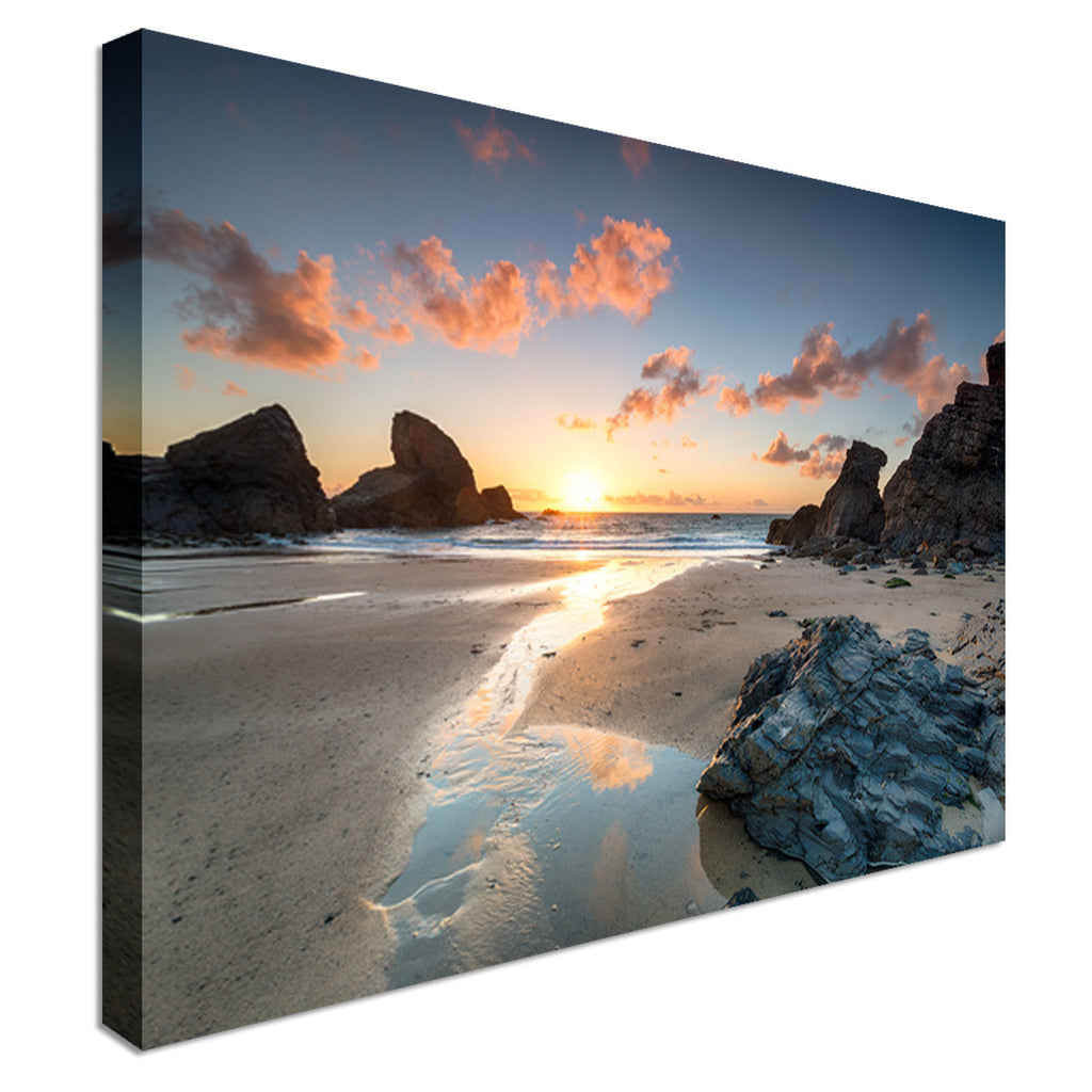Sunset Porthcothan Bay Cornwall Canvas Wall Art Picture Print