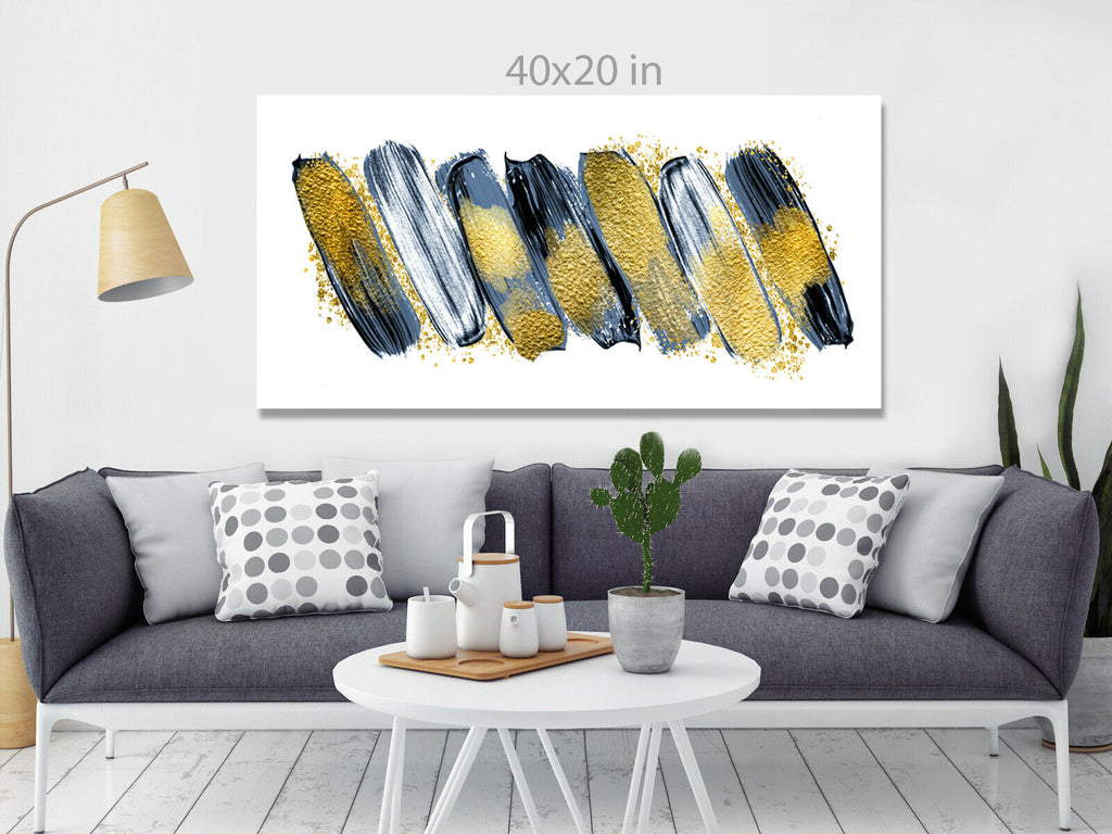 Panoramic  Yellow Grey Abstract Canvas Wall Art Picture Print