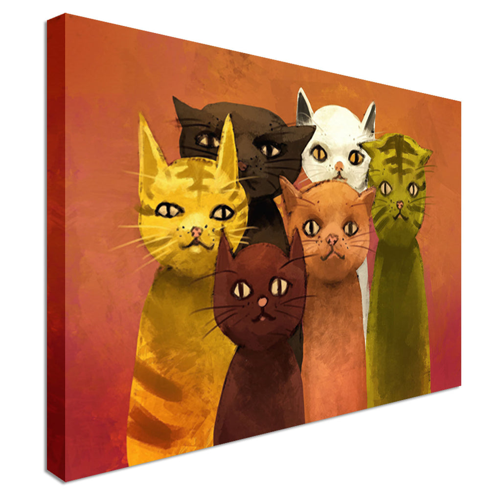 Abstract Cats Canvas Wall Art Picture Print