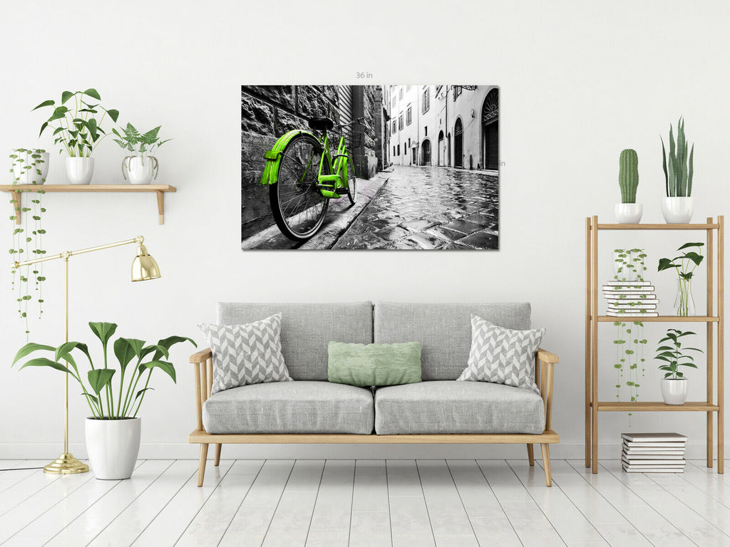 Green Bike City Black And White  Canvas Wall Art Picture Print