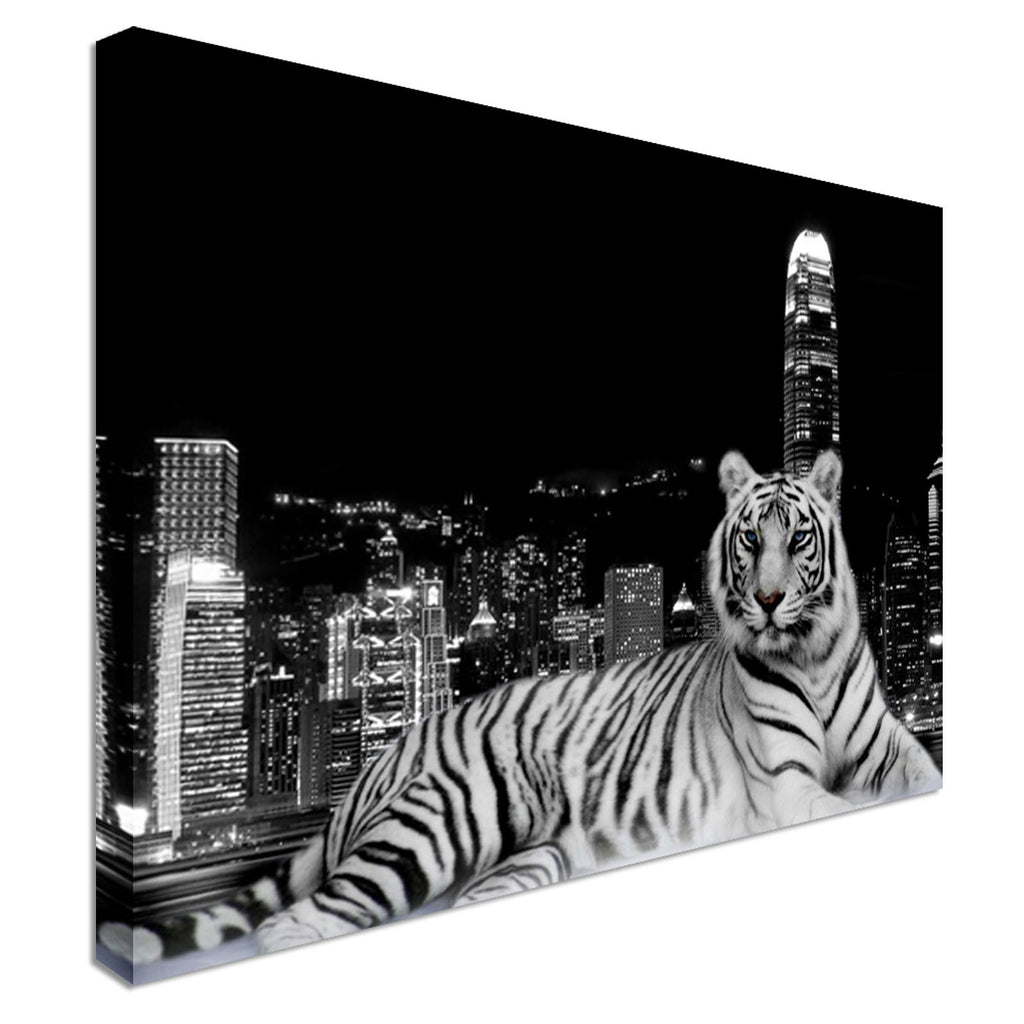 Tiger City Animal Black White Style Canvas Wall Art Picture Print