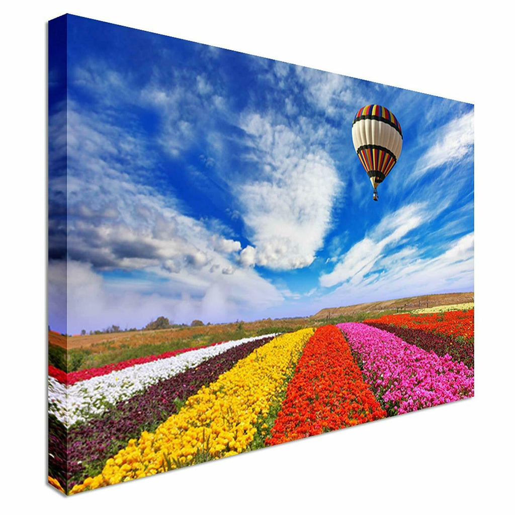 Air Balloon over Flowers Canvas Wall Art Picture Print